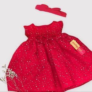 12 Month Red Sparkly Christmas Dress & Bow